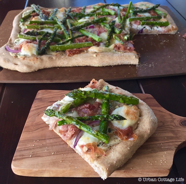 Asparagus & Prosciutto Pizza   © UrbanCottageLife.com