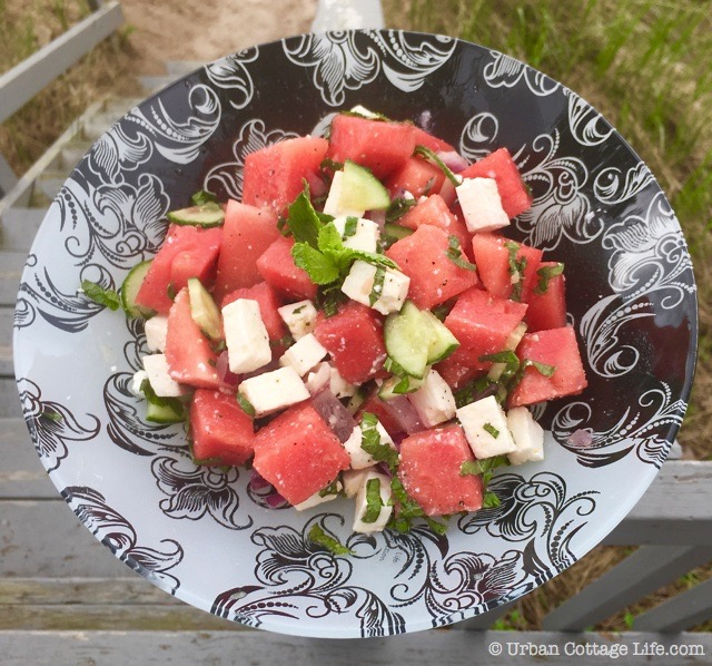 Watermelon Feta Salad with Lime Honey Dressing | © UrbanCottageLife.com