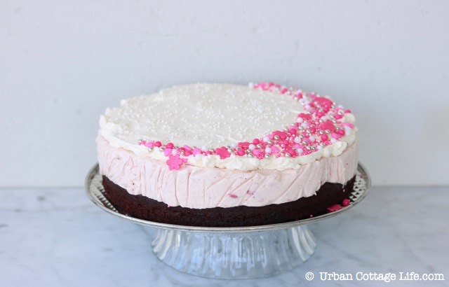 Chocolate Strawberry Ice Cream Cake   © UrbanCottageLife.com