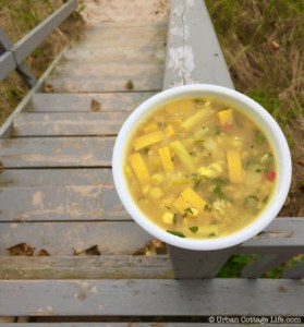 Golden Summer Soup with Turmeric & Celery Leaf │ © UrbanCottageLife.com