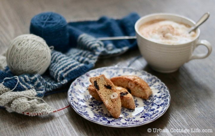 Enjoying Hazelnut, Orange and Sour Cherry 'Biscotti with a cup of cappuccino and some knitting.
