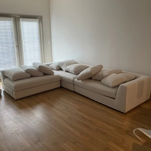 Urban Solid Wood Fabric L Shape Sofa Set, Off-White photo review