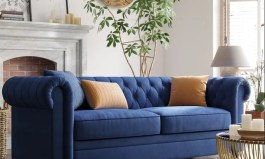"""Urban Criss 81.9"""" Rolled Arm Chesterfield Sofa"""