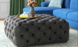 """Urban Jessamine 39"""" Wide Velvet Tufted Square Standard Ottoman by Urban Couch"""