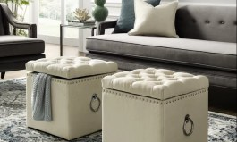 """Urban Mcclelland 18"""" Wide Tufted Square Ottoman with Storage"""