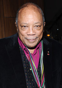 """Quincy Jones Music Producer(Jones was the producer, with Michael Jackson, of Jackson's albums Off the Wall (1979), Thriller (1982), and Bad (1987), as well as being the producer and conductor of the 1985 charity song """"We Are the World"""".)"""
