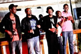 (From Left)Long John, Carl Joshua Ncube, Marshal Elando, Ntando Van Moyo and Q (the Boss) 2014 Umahlekisa Comedy Show Bulawayo.