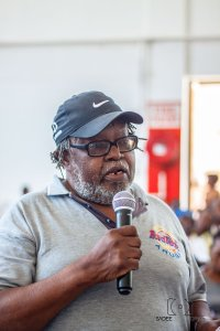 Ndumiso Gumede stressing a point at the meeting