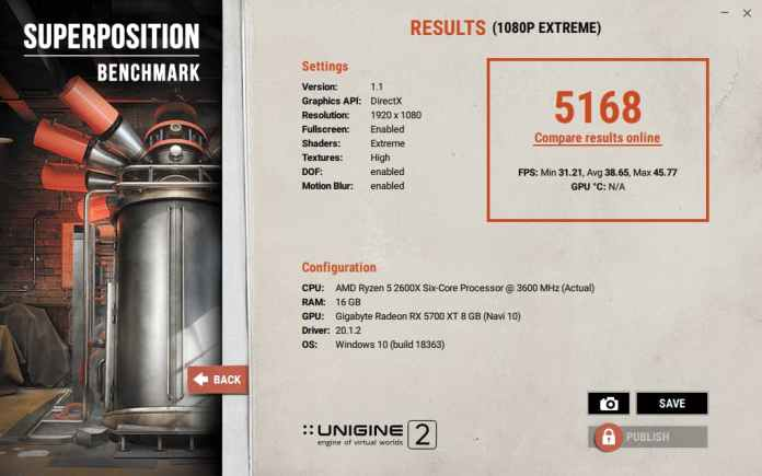 Unigine Superposition results for Gigabyte RX 5700 XT Gaming OC 8G