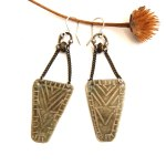 Mixed Metal Silver Tribal Etched Earrings