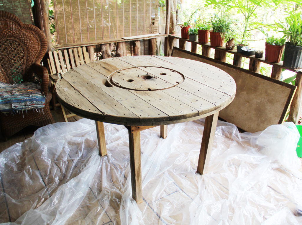 furniture refinishing wooden spool