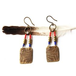 Etched Tribal Beaded Brass Earrings