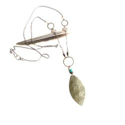 Silver Tribal Etched Leaf Necklace
