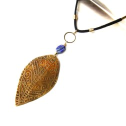 Etched Tribal Brass Leaf and Black Leather Necklace