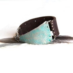 Silver Patina Etched Cuff on Brown Leather