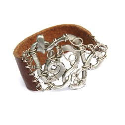 Wire Wrapped Silver Spiral and Brown Leather Bracelet