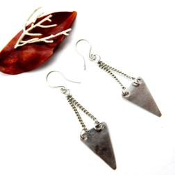 Silver Triangle and Chain Earrings