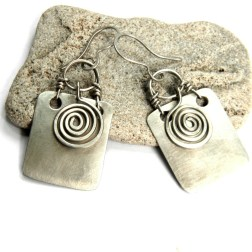 Silver rectangle and spiral earrings