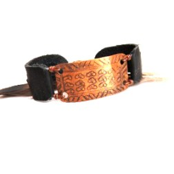 Tribal Etched Copper and Black Leather Bracelet