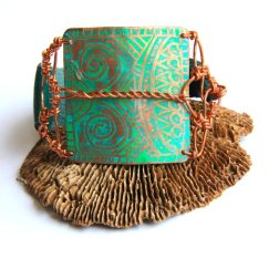 Tibal Etched Copper Patina and Teal Leather Bracelet