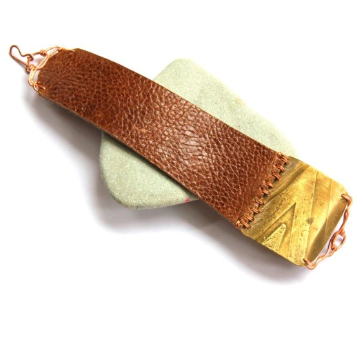 Bohemian Urban Eclectic Jewelry Handmade Costa Rica Geometric Etched Mixed Metal and Brown Leather Bracelet