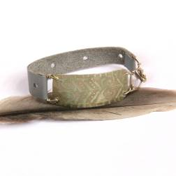 Tribal Etched Silver and Gray Leather Bracelet