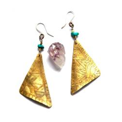 Bohemian Urban Eclectic Jewelry Handmade Costa Rica Etched Tribal Mixed Metal Triangle Earrings