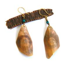 Brass Geometric and Patina Shield Earrings