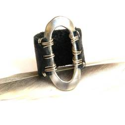 Brushed Metal Oval on Black Leather Band Ring