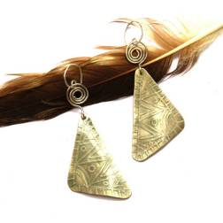 Urban Eclectic Jewelry Handmade Tamarindo Costa Rica Etched Tribal Silver Earrings