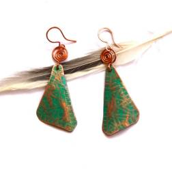 Tribal Etched Patinaed Copper Earrings