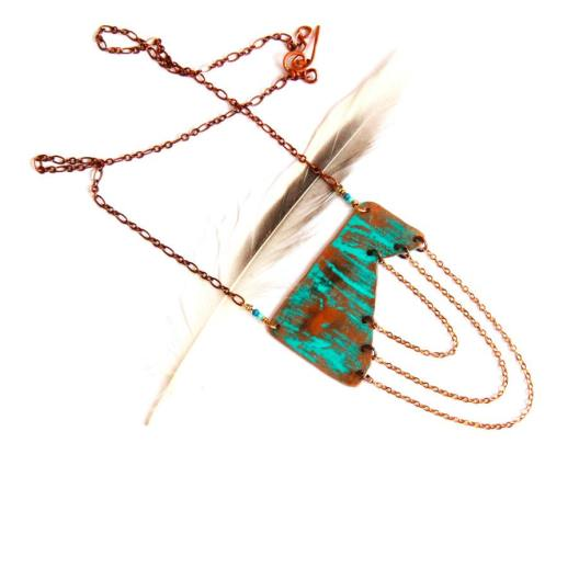 Geometric Copper Chain Necklace with Turquoise Patina