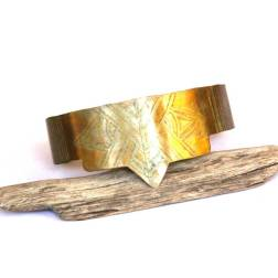 Tribal Etched Brass Geometric and Leather Cuff