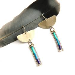Urban Eclectic Jewelry Handmade Tamarindo Costa Rica Silver Ombre Beaded Fringe Earrings