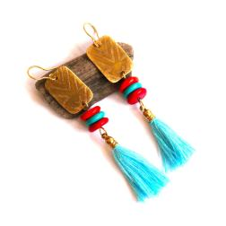 Urban Eclectic Jewelry Handmade Tamarindo Costa Rica Tribal Etched Brass and Turquoise Tassel Earrings