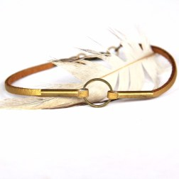 Gold Leather and Brass Circle Bracelet by Urban Eclectic Jewelry