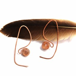 Urban Eclectic Jewelry Handmade Tamarindo Costa Rica Copper Thread Through Earrings