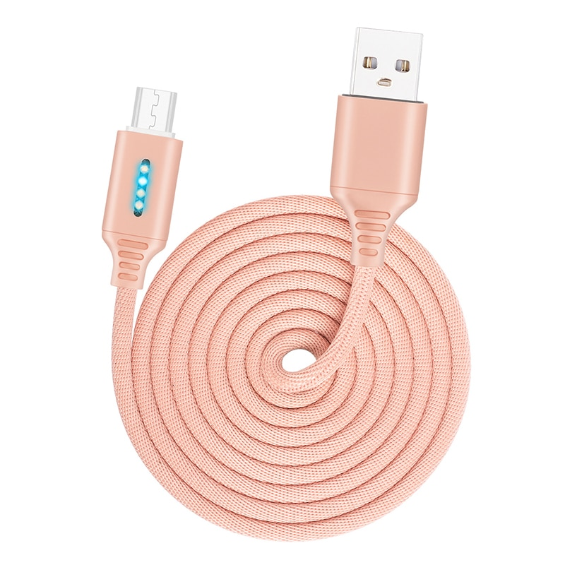 Smart Power Off 2.4A Charging Data Cable For Samsung iPhone Huawei Auto Power-off Protection Cord With LED For Micro USB Type C