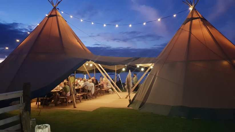 Honeymoon Bay with tipi marquee