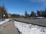 Wide traffic zones and open spaces in Kannelmäki.