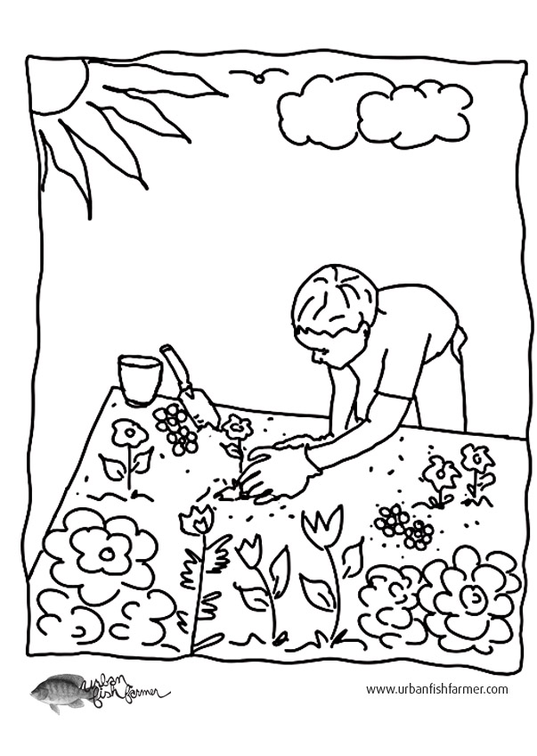 Garden Coloring Pictures - Fun For Kids - Urban Fish Farmer