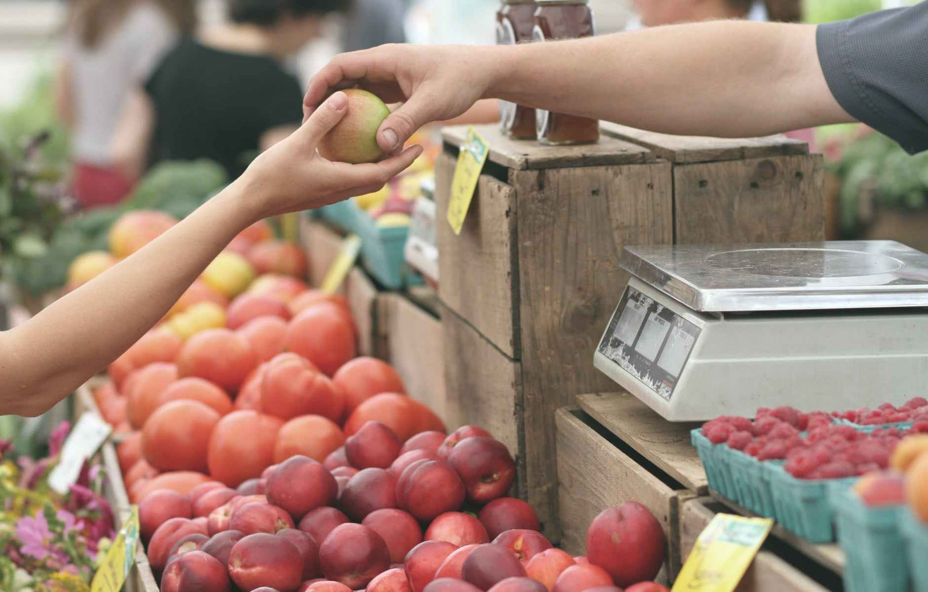 person giving fruit to another