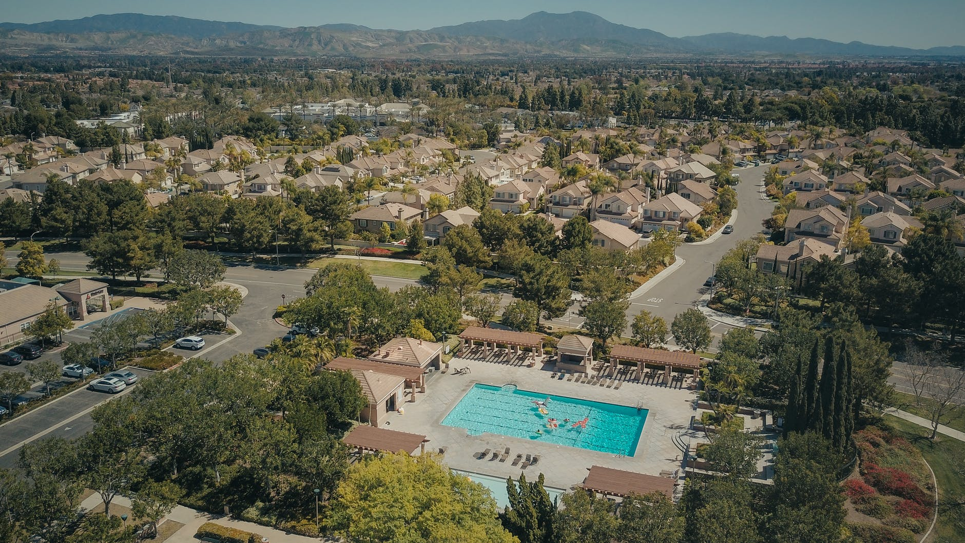 drone shot of resort in a city