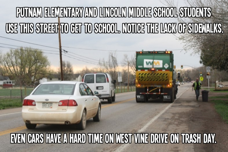 Even cars have a tough time on West Vine Drive. Imagine what students go through.