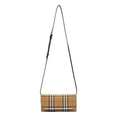 Burberry - Beige & Black Henley Small Wallet Bag