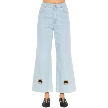 Coliac - Wide leg cotton denim jeans with cutouts