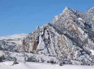 Mountain views and the winter wonderland of the Flatirons, Boulder, Colorado