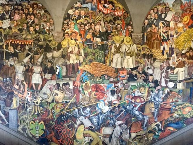 History of Mexico City. Diego Rivera mural