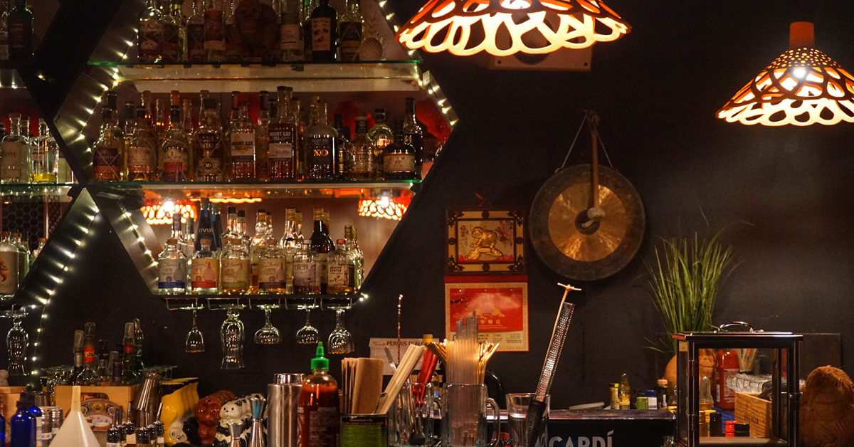 The bar inside Chez Tao in Saint-Sauveur, Quebec City