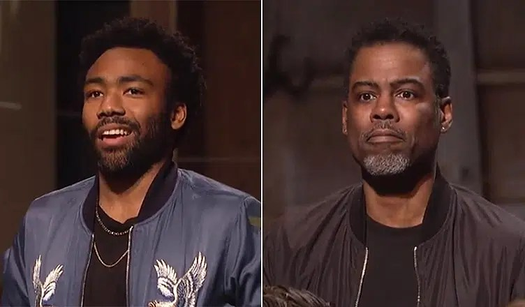 Donald Glover and Chris Rock appeared on SNL on Saturday, May 19, 2018. (Credit/NBC)